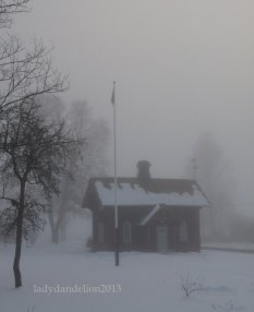 old house by the tracks in the mist