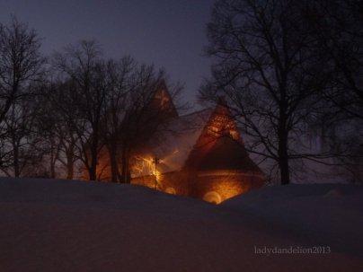 dusk is falling / Gamla/Old Uppsala Church is glowing like a lantern.
